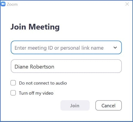 Type the meeting ID in the first box